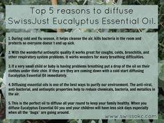 Top 5 reasons to diffuse SwissJust Eucalyptus Essential Oil! www.swissokc.com