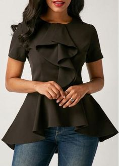 #ModLily - #unsigned Asymmetric Hem Short Sleeve Black Flouncing Blouse - AdoreWe.com