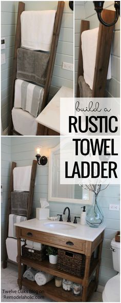 Store towels in your bathroom while looking chic and farmhouse! How To Build A Rustic Towel Ladder, Tutorial from Twelve Oaks Blog on Remodelaholic.com #rustichomedecor