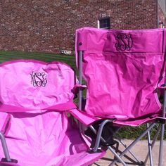 Monogrammed Chairs... HAVE TO DO THIS!!    this would be soo cute with school colors for tailgating!