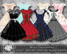 Dress Tags Printable Collage Sheet Digital Gift by LycorisDigital