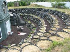 World's Largest Geodesic Dome House Runs On Renewable Power (Photos) : TreeHugger Tire Garden, Terrace Garden, Earthship Home, Earthship Design, Green Dome, Geodesic Dome Homes, Power Photos, Tyres Recycle, Reuse Recycle