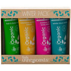 This gorgeous organic baby winter travel pack features beautifully presented organic babycare produc