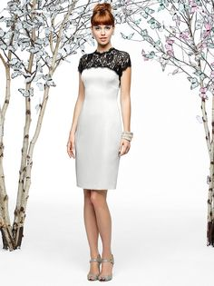 Floral lace accents the sheath silhouette of Dessy Lela Rose LR195 Bridesmaid Dress, spanning the yoke and back.