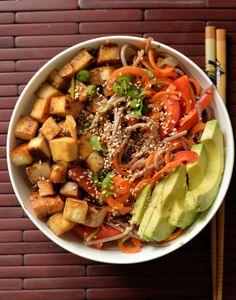 Slivered Veggie and Soba Salad with Mapled Tofu