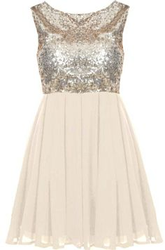 Champagne Twinkle Dress: Features a classic round neckline with sexy V-design to the rear, glittering gold sequin bodice, swingy champagne-hued chiffon skirt, and an edgy exposed rear zipper to finish.