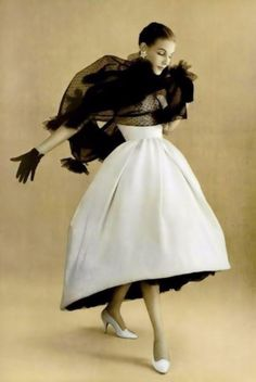 Elegance Amplified Givenchy - 1957 - L'Officiel vintage fashion style designer couture white evening dress formal bell short front long back full skirt black chiffon wrap 50s 60s unique