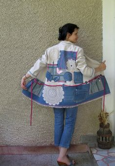 This jacket is so fun! And comfy to wear with blue jeans, shorts or leggings for going shopping or on a walk. * Click zoom (below every picture) for closer look. * All applique parts are steadily sewn * The bodice is made out of a oatmeal color linen shirt * The bottom is blue denim fabric,