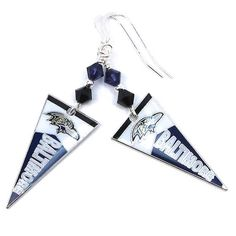 Baltimore Ravens Pennant Earrings with by CatjuHandmadeJewelry