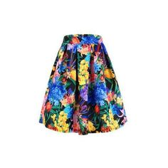 Yoins Yoins Floral Print Pleated Full Skirt ($18) ❤ liked on Polyvore featuring skirts, floral knee length skirt, flower print skirt, full floral skirt, evening skirts and cocktail skirt
