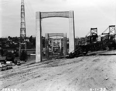 Piers for the Interstate 5 bridge over the Lake Washington Ship Canal are shown June 1, 1959. Photo: Seattle Municipal Archive