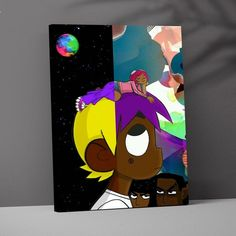 Hippie Painting, Trippy Painting, Cartoon Painting, Painting & Drawing, Black Canvas Paintings, Easy Canvas Painting, Small Canvas Art, Mini Canvas Art, Art Drawings