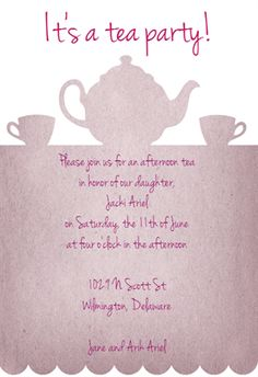 Tea Party Printable Invitation Template Customize Add Text And Photos Print Or For Free