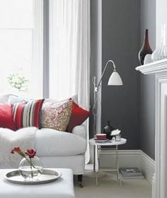 Gray and red room | Expert tips and stylish color pairings make it easy to integrate this neutral shade into your decor.