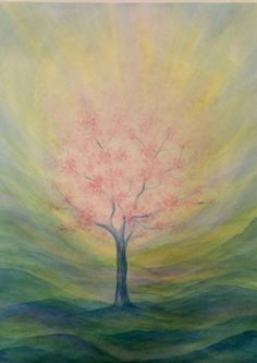spring tree in blossom Chalkboard Drawings, Chalk Drawings, Abstract Watercolor, Watercolour Painting, Images D'art, Spiritual Paintings, Chalk Art, Light Painting, Oeuvre D'art