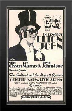 Elton John Concert 1973 The Southerland Brothers & Quiver Nicely Framed Poster