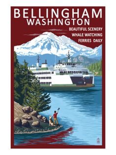 Bellingham, Washington - Ferry Scene Posters by Lantern Press at AllPosters.com