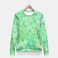 """""""Green foliage"""" Fitted Waist Sweater by Savousepate on Live Heroes #sweatshirt #apparel #clothing #green #foliage #leaves #nature #pattern #drawing #watercolor"""