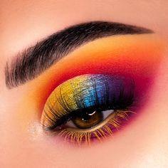 Rainbow Makeup look - Makeup Tips Plus Size Mascara, Eyeliner, Anna Makeup, Sexy Makeup, Exotic Makeup, Makeup Goals, Makeup Inspo, Makeup Art, Rainbow Makeup