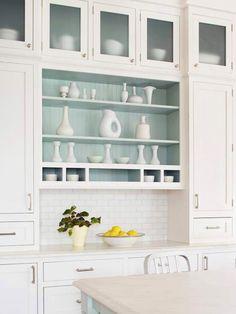 Seafoam cabinet interior showcases white wares.... Traditional Coastal Style Kitchen Design Inspiration | DigsDigs