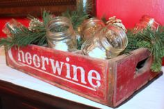 Harris Sisters GirlTalk: One Man's Trash - Vintage Items Turned Christmas Decorations - Cheerwine Soda Crate with mason jars used as candleholder
