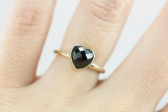 Elegant Natural Black Spinel Gemstone Heart Ring - 14k Yellow Gold - Wedding Engagement Promise Ring - Size 5.25 Ready to Ship on Etsy, $582.00