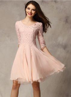 Elegant 3/4 Sleeve Lace A-line Cocktail Dress OASAP.com