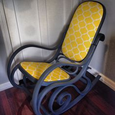 Bentwood rocking chair. Repainted and reupholstered in grey and yellow. Custom mix of Annie Sloane Chalk Paint.