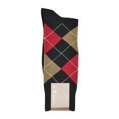 Florsheim Argyle Socks in Black, Red, and Tan