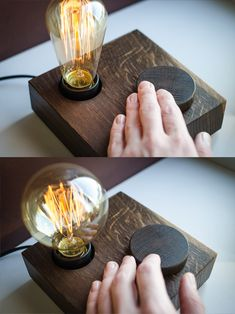Wooden lamp designed for retro light bulbs, with a dimmer switch. Made particularly for wood appreciators! We only use recycling wood, no trees were harmed during the making of this product :) Totally Lampe Edison, Retro Light Bulbs, Retro Lampe, Diy Luminaire, Retro Lighting, Lamp Socket, Wooden Textures, Bedroom Lamps, Wood Bedroom