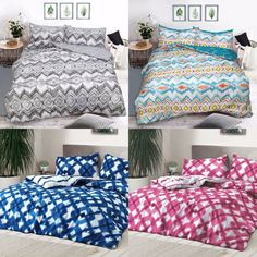 Tie Dye & Zig Zag Ploycotton Duvet Quilt Cover with Pillow Cases Bedding Sets