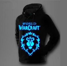 World of Warcraft fleece hoodie for men Alliance luminous black sweatshirt