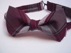 Burgundy Grey Plaid Bow Tie-Wine Grey Plaid by DragonflyBowTies