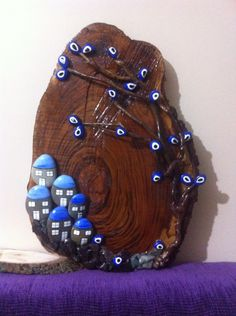 Pebble Painting, Pebble Art, Stone Painting, Stone Crafts, Rock Crafts, Arts And Crafts, Painted Driftwood, Evil Eye Jewelry, 3d Wall Art