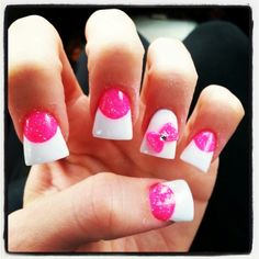 Colored acrylic nails - like the switch of bright pink sparkle with the boring white tips