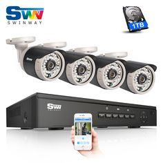 SW New List 4CH POE 720P HD Outdoor+Indoor IR Security Camera System+1TB HDD&Home POE Video Surveillance Kit Motion detection #Affiliate
