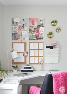 Gorgeous home office makeover | The Decor Fix ADD OUR CHIC MAGNETS & PUSHPINS FOR EXTRA CUTENESS!!  shop www.prettylittlethings00.com