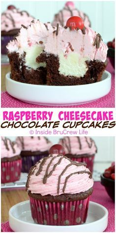 Raspberry Cheesecake Chocolate Cupcakes - a hidden cheesecake center and raspberry frosting makes this cupcake recipe a fun dessert to share