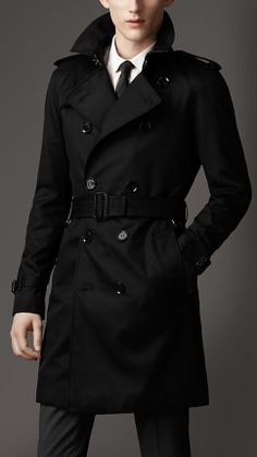 Trench coat medio in cotone tecnico | Burberry