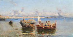 Laezza Giuseppe (Napoli 1835 - 1905) Marina con barche olio su tavola, cm 20x40 firmato in basso a sinistra: Giu. Laezza