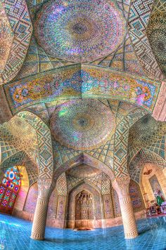 """Stunning architecture at Pink Mosque 🤩 Shiraz, Iran. Sacred Architecture, Architecture Cool, Persian Architecture, Mosque Architecture, Architecture Wallpaper, Shiraz Iran, Beautiful Mosques, Beautiful Places, Beautiful Pictures"