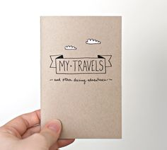 Travel Journal, Recycled Pocket Size Notebook - My Travels & Daring Adventures - Brown with White Clouds
