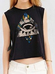 Black Galaxy And Tiger Print Cropped Vest   Choies