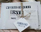 Rustic wedding invitation set - KRAFT paper - Vintage Wedding Suite - Organic wedding invitations - Eco-Friendly Invitation - Taupe Invite