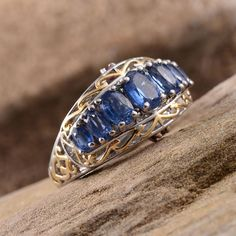 Himalayan Kyanite, Ruby, and Blue Diamond Ring in 14K Yellow Gold and Platinum Overlay Sterling Silver (Nickel Free)