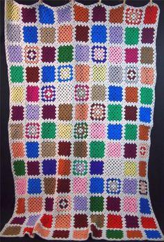 "vtg White Multi Color Crochet Granny Square Afghan Throw Boho Hippie Chic 57x84"" #Handmade"