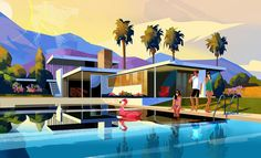 Palm Springs on Behance Flat Design Illustration, Landscape Illustration, Illustration Art, Architecture Concept Drawings, Art And Architecture, Visual Communication Design, Spring Landscape, Scenery Wallpaper, Mid Century Art