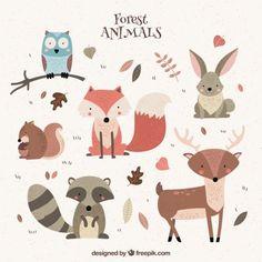 Vários animais selvagens agradáveis Vetor grátis