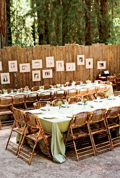 Rustic, Outdoor Wedding Reception With Family Photos