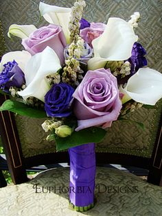The Bridal Bouquet of Purple Roses, White Calla Lillies and Purple Lizzyanthus (Euphorbia Floral Design)